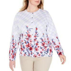 KAREN SCOTT White Floral Cardigan Sweater